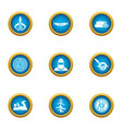 harvesting timber icons set flat style vector image vector image