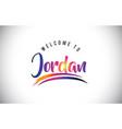 jordan welcome to message in purple vibrant vector image