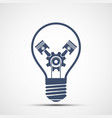 light bulb icon with gear and engine pistons vector image vector image