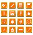 measure precision icons set orange vector image vector image