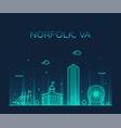 norfolk skyline virginia usa linear style vector image vector image