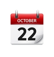 October 22 flat daily calendar icon Date vector image vector image