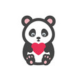panda bear with heart vector image vector image