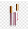 purple lip gloss mockup realistic style vector image vector image