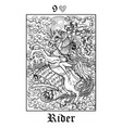 rider tarot card from lenormand gothic mysteries vector image vector image