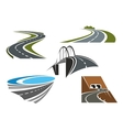Road bridge rural highways and road tunnels vector image