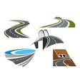 road bridge rural highways and tunnels vector image