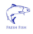 Salmon with text fresh fish vector image vector image