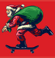 santa claus riding skateboard while bringing a vector image vector image