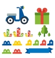 scooter delivery elements vector image