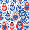 Seamless pattern blue red gray Russian dolls on a vector image vector image