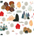 seamless pattern with forest elements and hand vector image