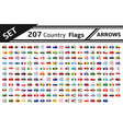 set 207 country flags arrows vector image vector image