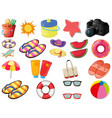 set beach objects vector image vector image