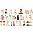 set different muslim people cartoon character vector image vector image