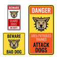set of stickers with beware bad dog signs vector image vector image