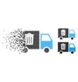 shredded pixel halftone rubbish transport van icon vector image vector image