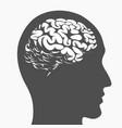 silhouette brain inside human head side profile vector image
