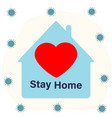 slogan call and hashtag sit at home with a picture vector image