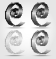 Stylized black spiral halftone icons vector image