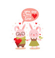two cute bunny rabbits vector image vector image