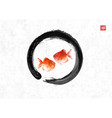two red fishes in black enso zen circle on rice vector image vector image