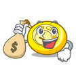 with money bag cd player character cartoon vector image vector image