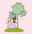 woman and man wedding in the car with tree vector image