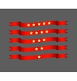 Red ribbon set with star - vector image