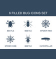 6 bug icons vector image vector image