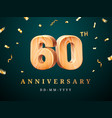60th anniversary sign with falling confetti vector image vector image