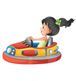 A girl driving the bumpercar vector image vector image