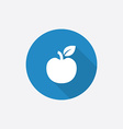 apple Flat Blue Simple Icon with long shadow vector image vector image