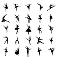 Ballerina silhouettes set vector image vector image
