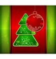 Balls and fir trees on red and green vector image