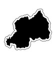 black silhouette of the country rwanda with the vector image vector image