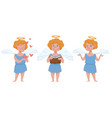 boy angel character with halo and hearts vector image vector image
