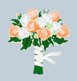 bridal bouquet roses isolated on gray vector image vector image