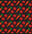 carrots and tomatoes vegetables pattern background vector image