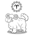 cartoon dog as aries zodiac sign vector image vector image