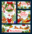 christmas holiday greeting santa and gifts vector image vector image