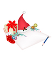 Christmas Item and Gift Box on Blank Page vector image