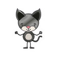 color crayon silhouette caricature of cute kitten vector image vector image