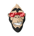 cool monkey wearing glasses logo design vector image