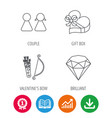 couple brilliant and engagement gift box icons vector image vector image