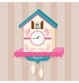 cuckoo clock bird on wall flat cute vector image