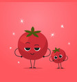 cute red tomato characters couple funny cartoon vector image