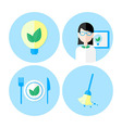Ecology flat icon set vector image vector image