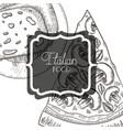 elegant frame victorian with italian food vector image