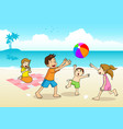 family having a picnic at beach vector image vector image
